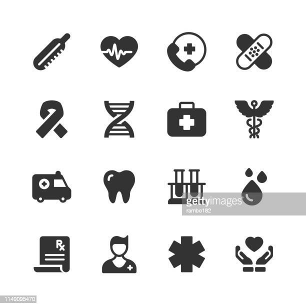 ilustraciones, imágenes clip art, dibujos animados e iconos de stock de iconos sanitarios y de glifos médicos. pixel perfect. para móvil y web. contiene iconos como latido del corazón, ambulancia, doctor, sangre. - trabajador sanitario