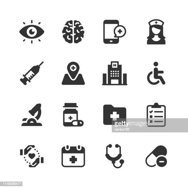 healthcare and medical glyph icons. pixel perfect. for mobile and web. contains such icons as brain, nurse, syringe, charity, hospital. - disability stock illustrations, clip art, cartoons, & icons
