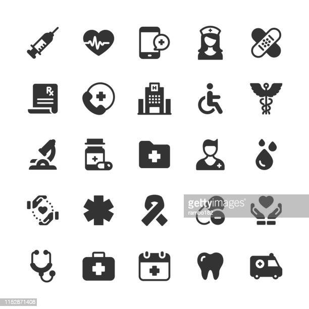 healthcare and medical glyph icons. pixel perfect. for mobile and web. contains such icons as brain, nurse, syringe, charity, hospital. - surgeon stock illustrations