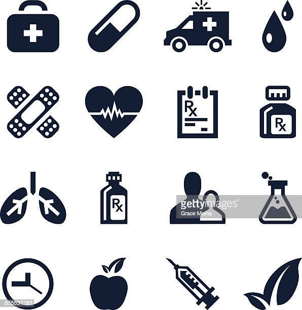 healthcare and medical icon set - vector - nutritional supplement stock illustrations, clip art, cartoons, & icons