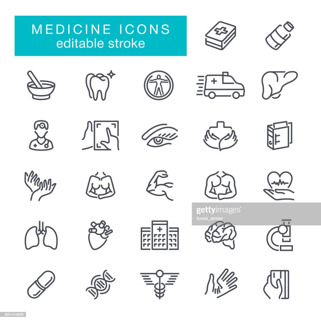 Healthcare and Medical Icons Editable Stroke : stock illustration