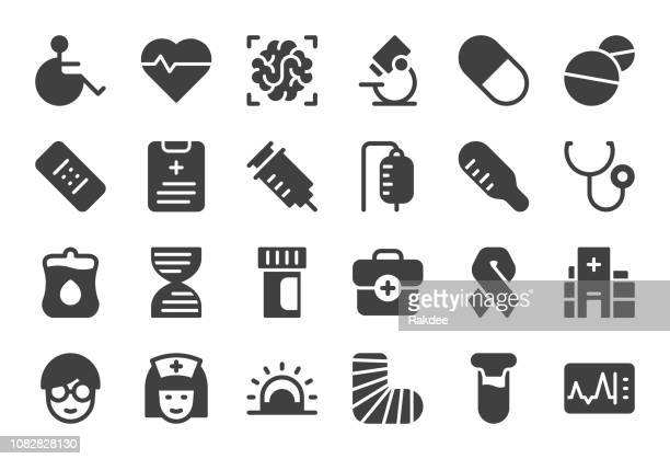 healthcare and medical icons - gray series - aids awareness ribbon stock illustrations