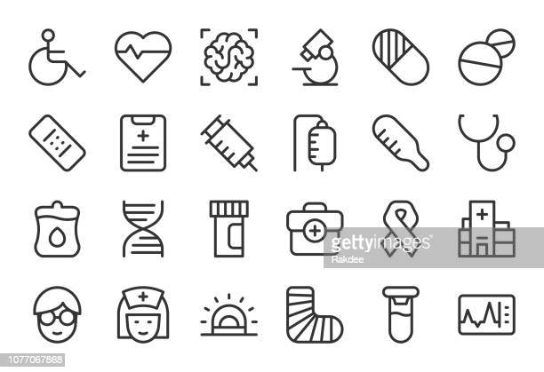 healthcare and medical icons - light line series - injecting stock illustrations