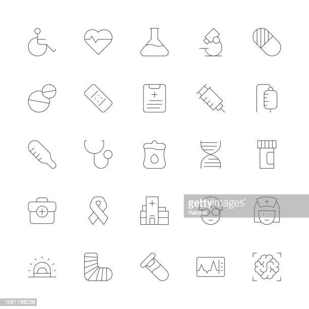 healthcare and medical icons - ultra thin line series - aids awareness ribbon stock illustrations