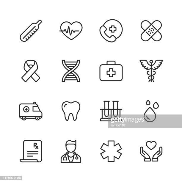 healthcare and medical line icons. editable stroke. pixel perfect. for mobile and web. contains such icons as healthcare, medicine, ambulance, first aid, doctor. - first aid stock illustrations