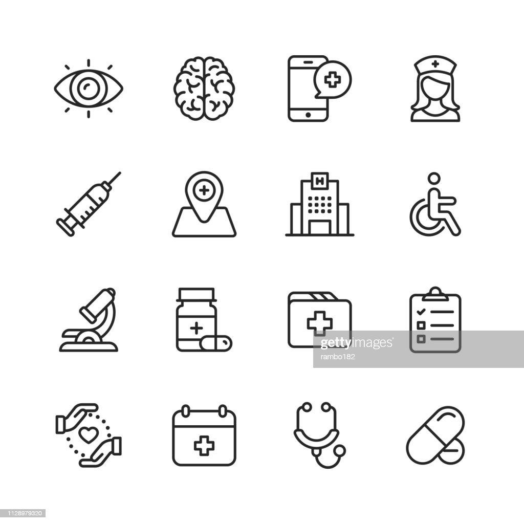 Ícones da linha de cuidados de saúde e médicos. Editável, acidente vascular cerebral. Pixel-perfeito. Para Mobile e Web. Contém ícones como cérebro, enfermeira, Hospital, cadeira de rodas, medicina. : Ilustração