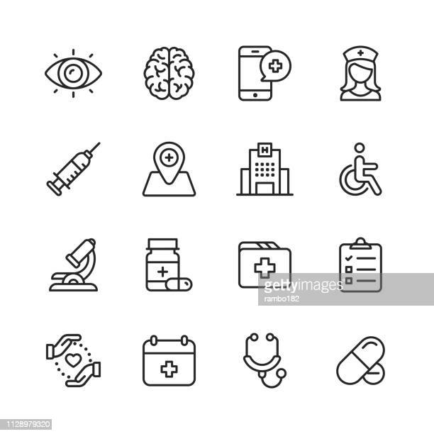 healthcare and medical line icons. editable stroke. pixel perfect. for mobile and web. contains such icons as brain, nurse, hospital, wheelchair, medicine. - line art stock illustrations