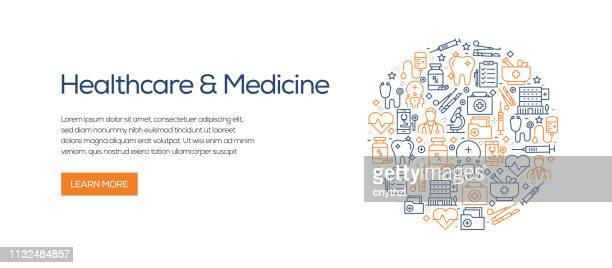 healthcare and medicine banner template with line icons. modern vector illustration for advertisement, header, website. - medical examination stock illustrations
