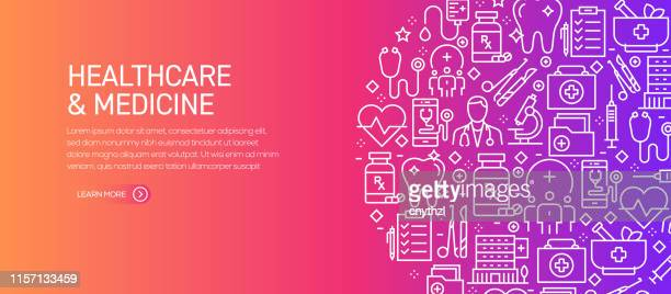 healthcare and medicine banner template with line icons. modern vector illustration for advertisement, header, website. - medical exam stock illustrations