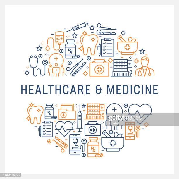 healthcare and medicine concept - colorful line icons, arranged in circle - medical exam stock illustrations