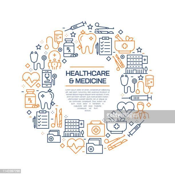 医療と医療のコンセプト-カラフルなラインアイコン、円でアレンジ - トピックス点のイラスト素材/クリップアート素材/マンガ素材/アイコン素材