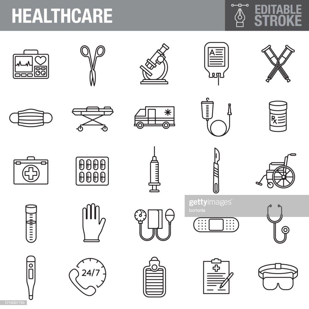 ヘルスケアと医学編集可能な脳卒中アイコンセット : ストックイラストレーション