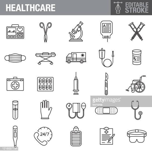 gesundheits- und medizin editierbare schlaganfall-symbol-set - begriffssymbol stock-grafiken, -clipart, -cartoons und -symbole