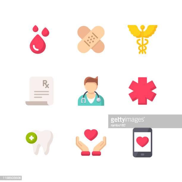 ヘルスケアと医療フラットアイコン。ピクセルパーフェクト。モバイルとウェブ用。ヘルスケア、医学、医師、病院、献血、医師、歯などのアイコンが含まれています。 - 医院点のイラスト素材/クリップアート素材/マンガ素材/アイコン素材