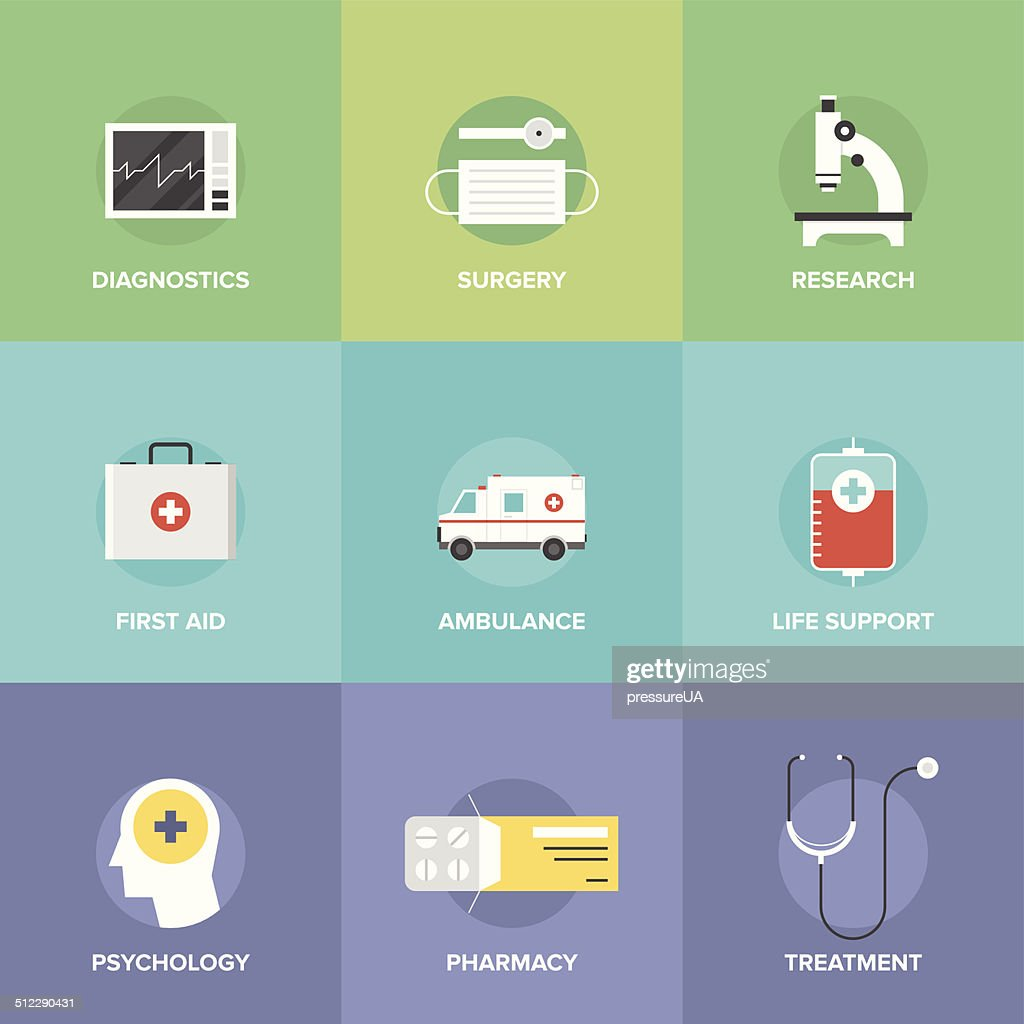 Healthcare and medicine flat icons
