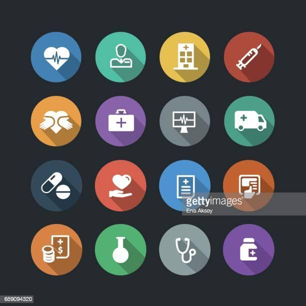 stockillustraties, clipart, cartoons en iconen met gezondheidszorg en geneeskunde plat pictogrammen - medicare