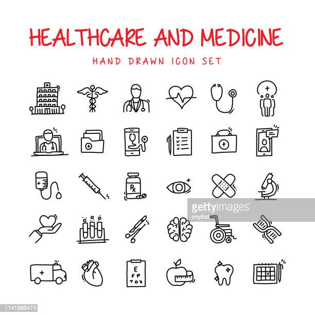 healthcare and medicine hand drawn line icons set - pencil drawing stock illustrations