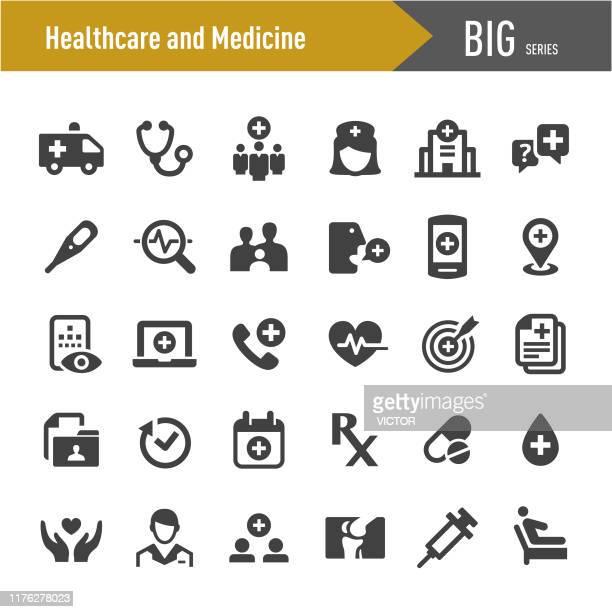 ilustraciones, imágenes clip art, dibujos animados e iconos de stock de icono de salud y medicina - big series - asistencia sanitaria y medicina