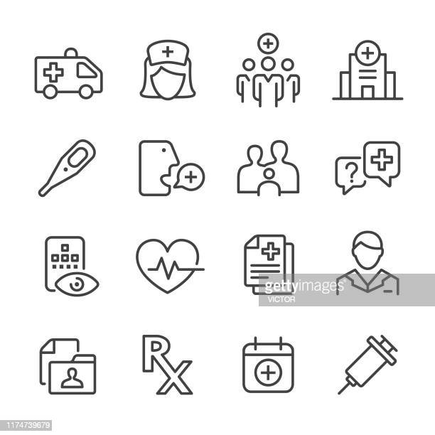healthcare and medicine icon - line series - first aid stock illustrations