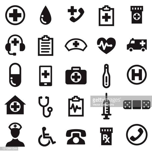 ヘルスケアと医学のアイコンセット - 医院点のイラスト素材/クリップアート素材/マンガ素材/アイコン素材