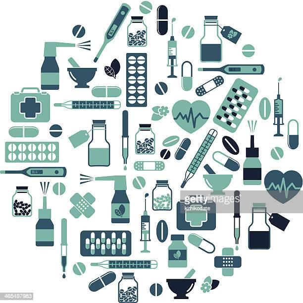 illustrations, cliparts, dessins animés et icônes de ensemble d'icônes de soins de santé et médecine - armoire de toilette