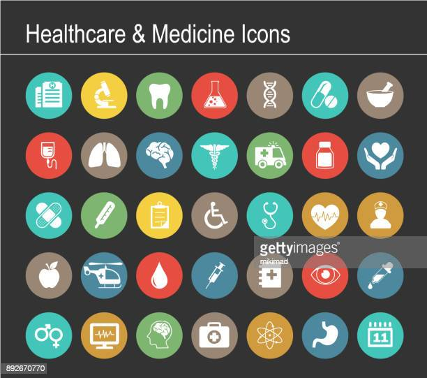 healthcare and medicine icon set - medical exam stock illustrations