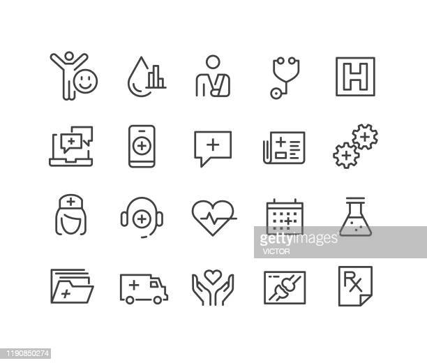healthcare and medicine icons - classic line series - thin stock illustrations