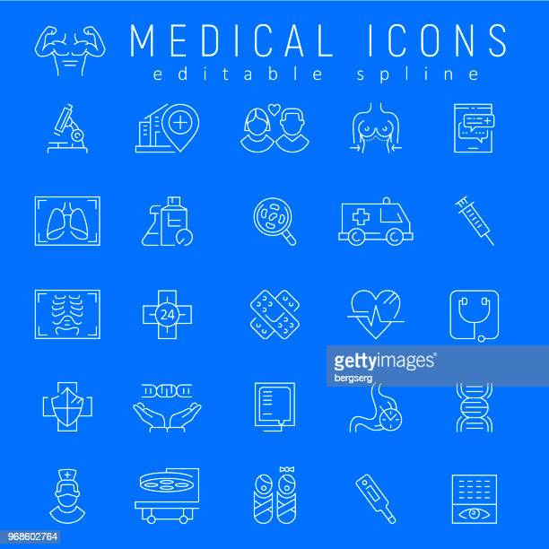 healthcare and medicine icons. editable stroke - chest torso stock illustrations, clip art, cartoons, & icons