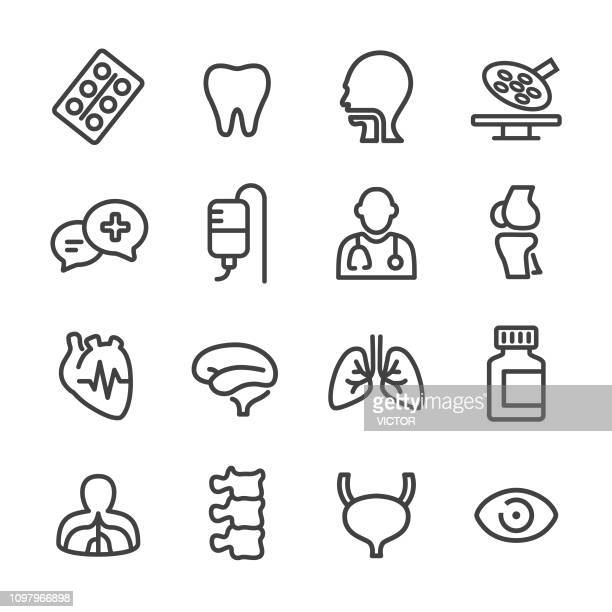 healthcare and medicine icons - line series - surgeon stock illustrations