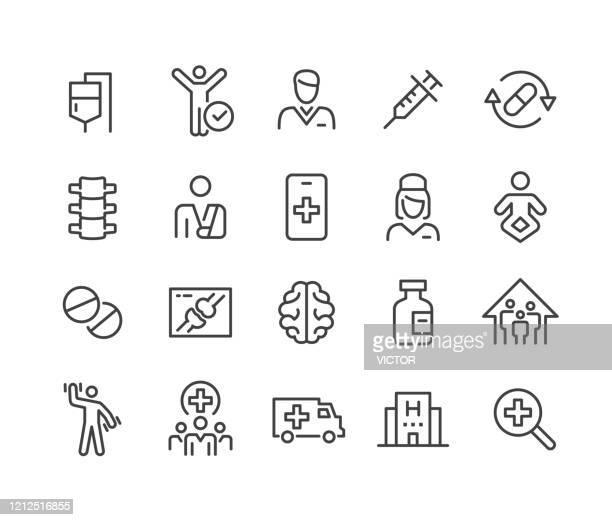 gesundheitswesen und medizin - icons set - classic line series - dünn stock-grafiken, -clipart, -cartoons und -symbole