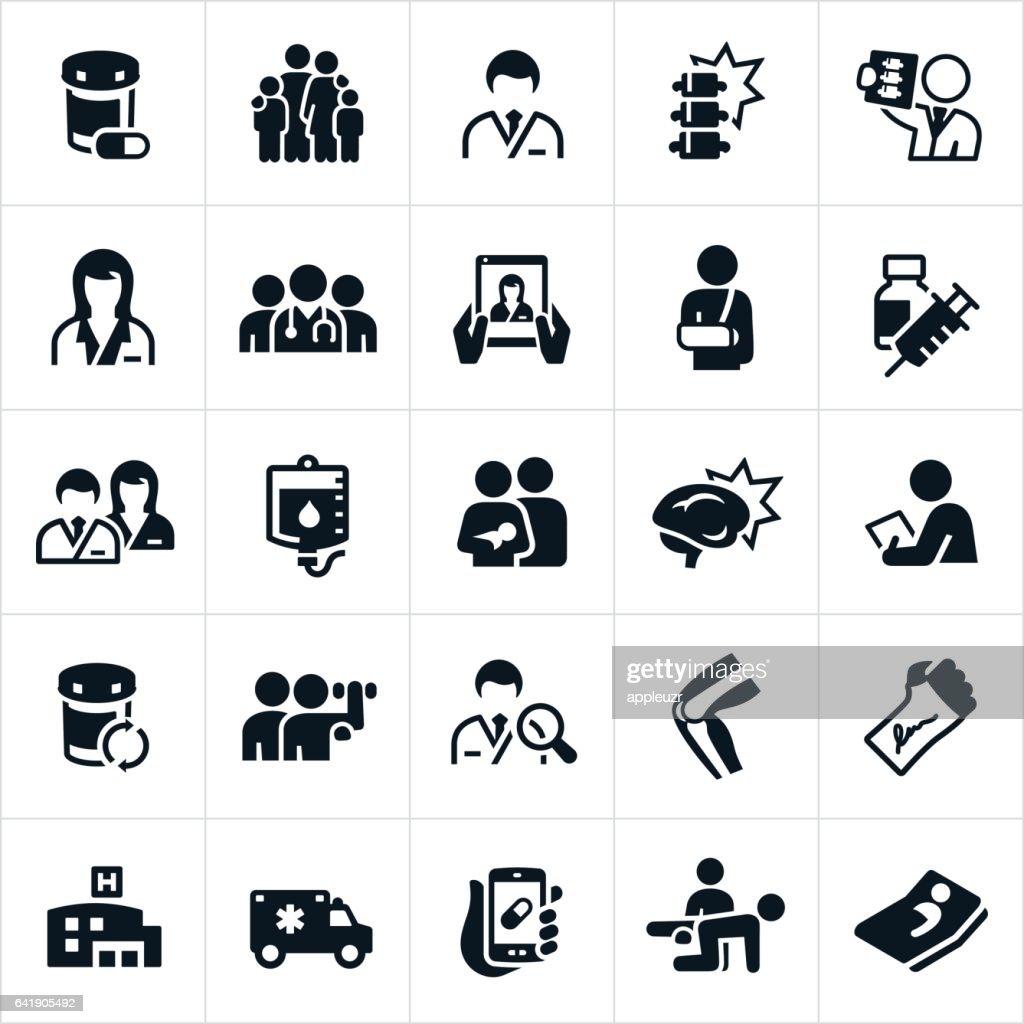 Gezondheidszorg en geneeskunde pictogrammen : Stockillustraties