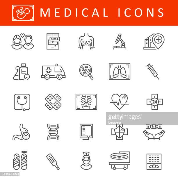 healthcare and medicine icons - x ray image stock illustrations