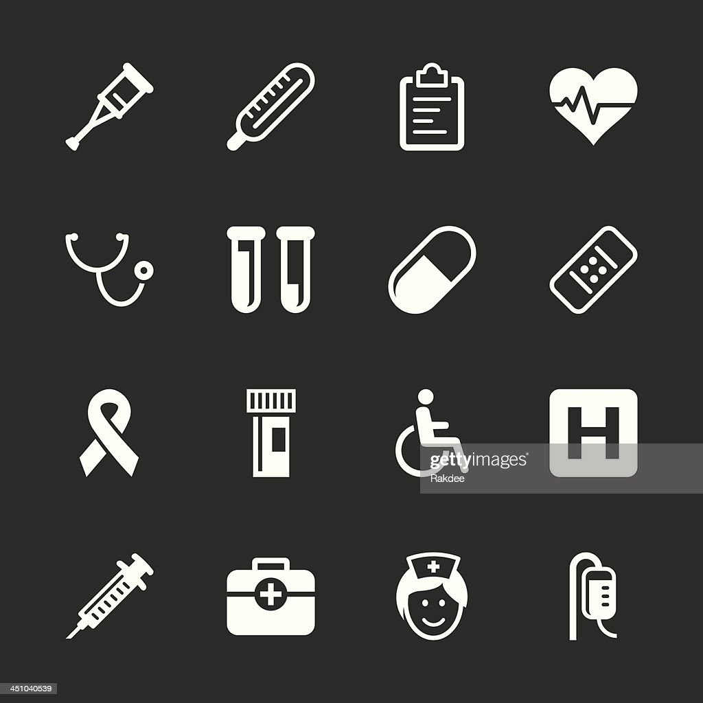 Healthcare and Medicine Icons - White Series | EPS10