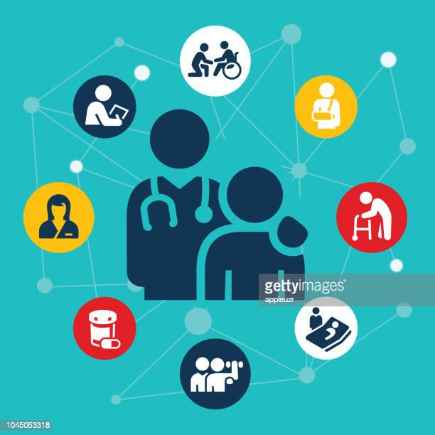 healthcare and medicine illustration - carer stock illustrations, clip art, cartoons, & icons