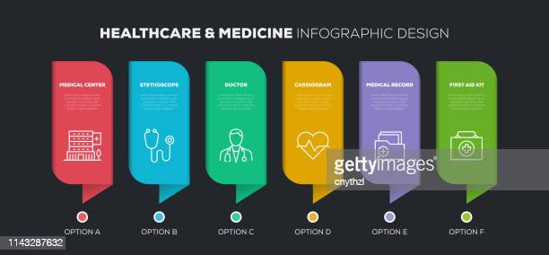 healthcare and medicine infographic design - x ray equipment stock illustrations, clip art, cartoons, & icons