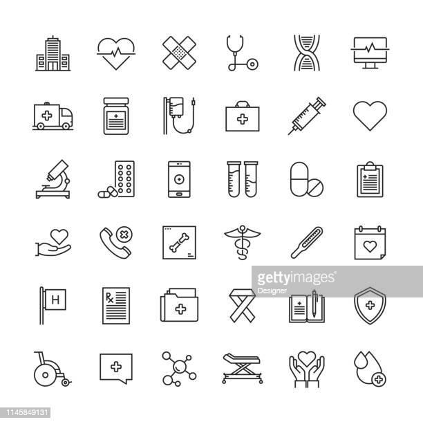 ヘルスケア・医薬ラインアイコンセット - 医院点のイラスト素材/クリップアート素材/マンガ素材/アイコン素材