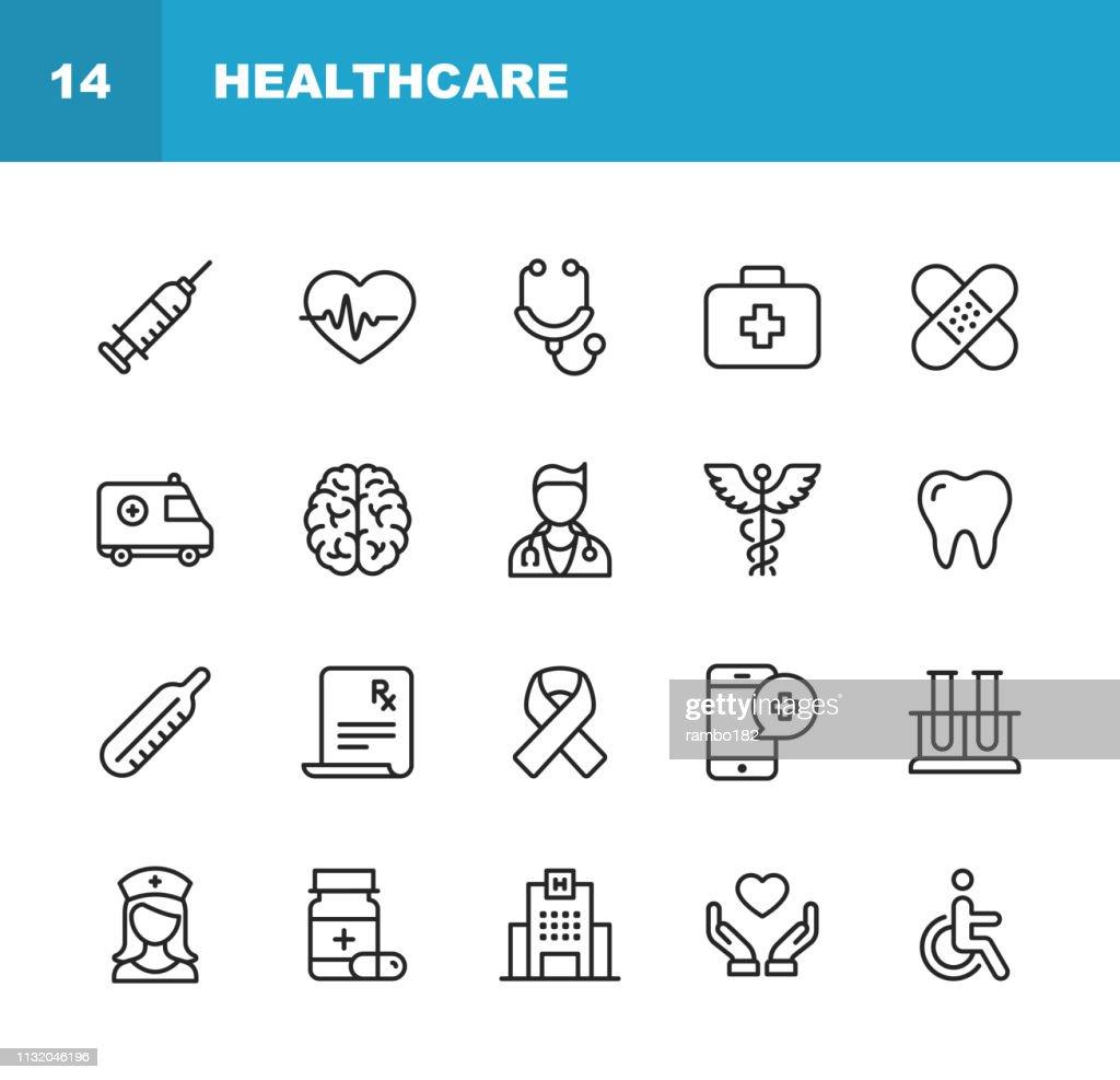Icons der Gesundheits-und Medizinlinie. Bearbeitbare Stroke. Pixel Perfect. Für Mobile und Web. Enthält solche Ikonen wie Gesundheit, Krankenschwester, Krankenhaus, Medizin, Ambulanz. : Stock-Illustration