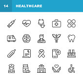 Healthcare and Medicine Line Icons. Editable Stroke. Pixel Perfect. For Mobile and Web. Contains such icons as Healthcare, Nurse, Hospital, Medicine, Ambulance.