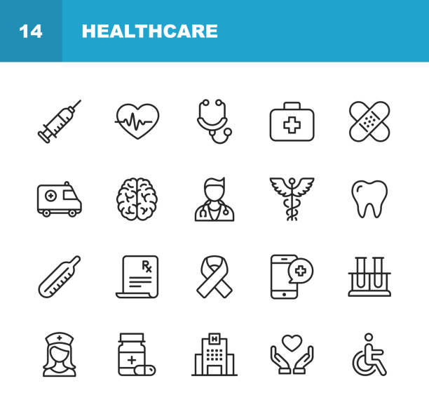 healthcare and medicine line icons. editable stroke. pixel perfect. for mobile and web. contains such icons as healthcare, nurse, hospital, medicine, ambulance. - human body part stock illustrations