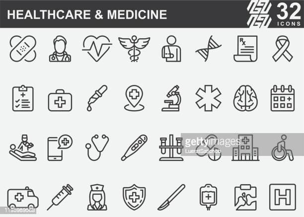 ilustrações de stock, clip art, desenhos animados e ícones de healthcare and medicine line icons - sinal de emergência informação