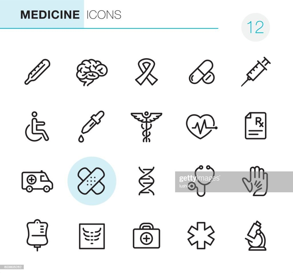 Healthcare and Medicine - Pixel Perfect icons : Stock Illustration