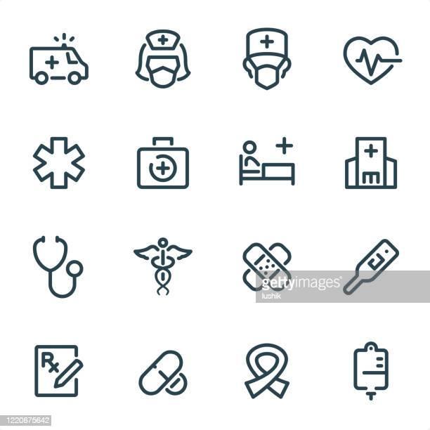gesundheitswesen und medizin - pixel perfect unicolor liniensymbole - aids schleife stock-grafiken, -clipart, -cartoons und -symbole