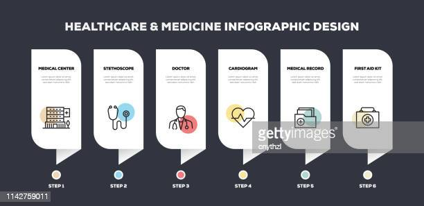healthcare and medicine related line infographic design - spine stock illustrations