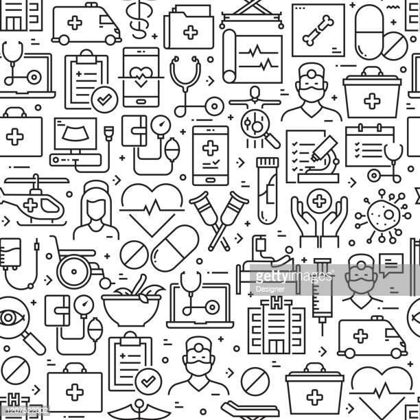 ilustraciones, imágenes clip art, dibujos animados e iconos de stock de patrón y fondo sin costuras relacionados con la atención médica y la medicina con iconos de línea. trazo editable - asistencia sanitaria y medicina
