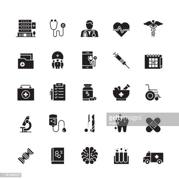 healthcare and medicine related vector icons - cardiologist stock illustrations