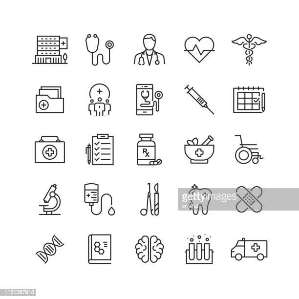 healthcare and medicine related vector line icons - medical exam stock illustrations