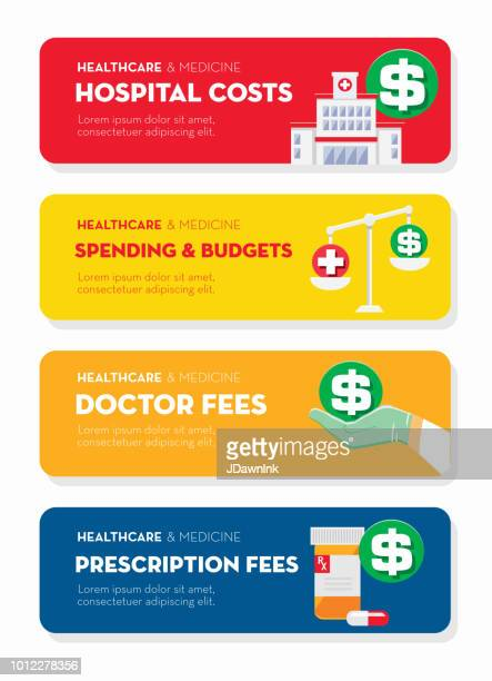 healthcare and medicine services flat design banner themed icon set with shadow - spending money stock illustrations, clip art, cartoons, & icons