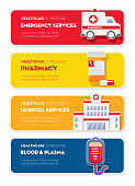 Healthcare and Medicine services Flat Design banner themed Icon Set with shadow