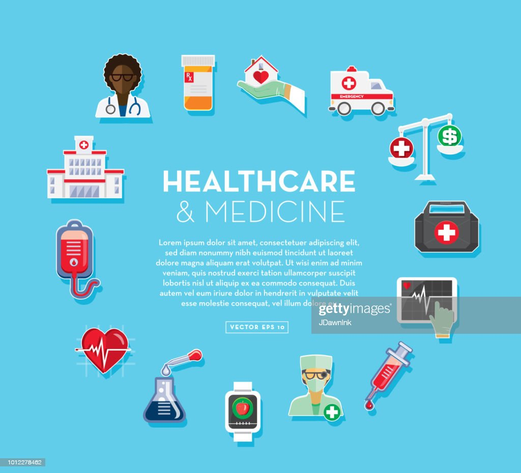 Healthcare And Medicine Services Flat Design Banner Themed Icon Set With Shadow High Res Vector Graphic Getty Images
