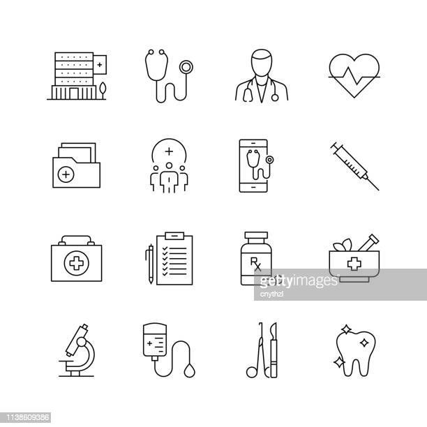 healthcare and medicine - set of thin line vector icons - cardiologist stock illustrations